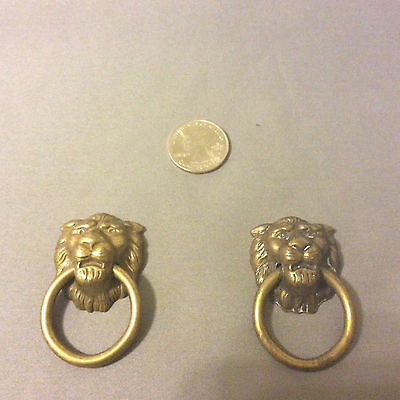 2 antique Lion head drawer pulls