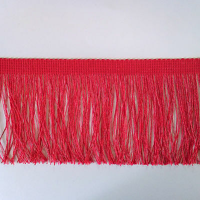 Silky Fringe ~ 10 cm (4 Inch) Red White Black ~ Purchase by the Metre