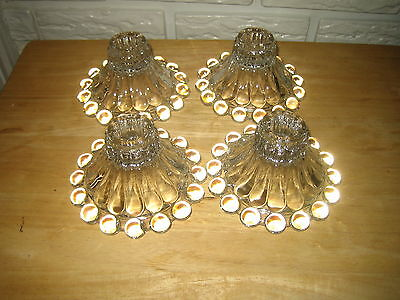 VTG Anchor Hocking Bubble Foot Depression Glass Candle Holders, Set of 4