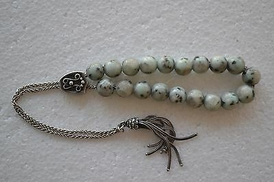 Antique Pre Columbian 19 Jade Beads With Sterling ( 925 ) Silver Worry Beads