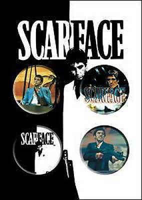 SCARFACE 4 x 1.5-inch Badge Button Pin Collector Set NEW MERCHANDISE Al Pacino