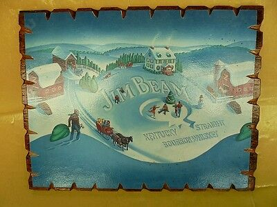 Very Early Jim Beam  Mounted Poster Christmas Scene In The Snow