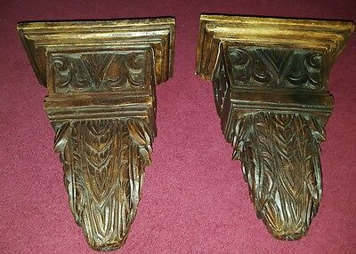 *Pair of Antique French Walnut Corbels/Brackets Carved Architectural Columns