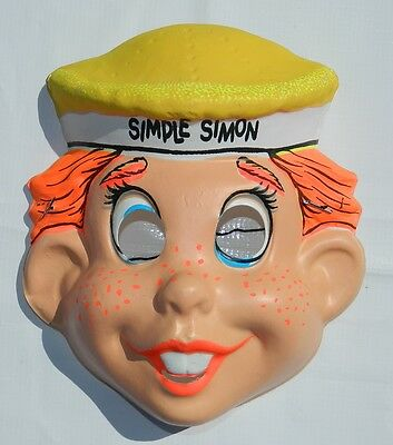 Vintage & Rare Halloween Simple Simon Costume Plastic Mexican Mask Ben Cooper