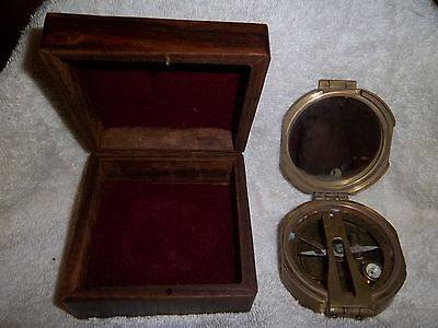 Brass Natural Sine Nautical Compass With Wood Box Stanley London Used