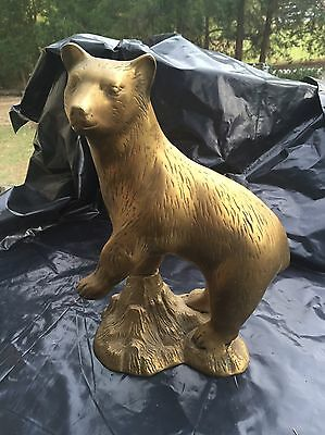 """Stunning Solid brass bear statue figurine 12"""" tall and about 9"""" across at widest"""