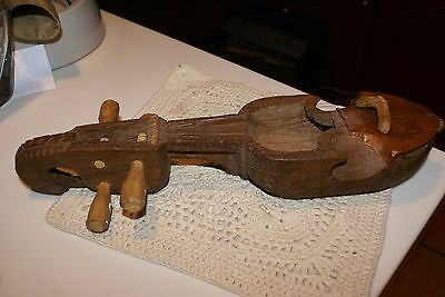 ANTIQUE  Ornate Oriental Hand Wood Carved Asian Musical Instrument
