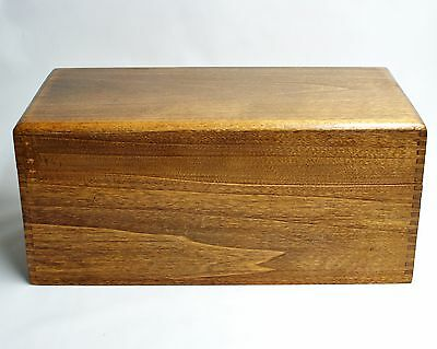 """Large Wooden portable filing recipe box dovetail joints 13.5"""" L x 6"""" h x 6.75"""" w"""