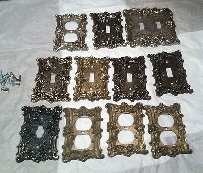 Lot of 11 Vintage 1965 Switch & Electrical Cover Plates - Ornate Rose Pattern
