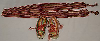 Mexican Handmade Children's Shoes Moccasin Belt Red Yellow Black Green Crochet