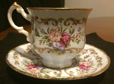 Vintage Paragon Miniature Tea Cup & Saucer Floral Tapestry Design with Gold Trim