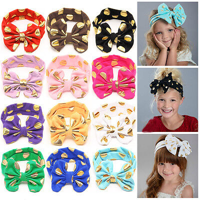 Baby Toddler Girls Glittery Gold Polka Dots Big Bowknot Headband Hair Head Band