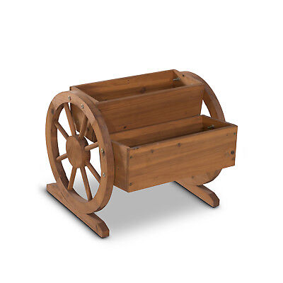 2 Tiers Wooden Garden Flower Planter Box Rustic Waterwheel Outdoor Yard Decor