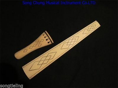 Baroque style nature maple 4/4 violin fingerboard /tailpieces