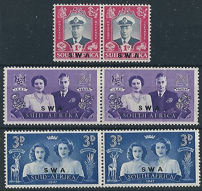 M062) S.W.A. on South Africa. 1947. MM. SG 134,135,136. Royal Visit. Pairs.