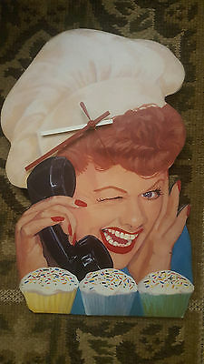 """I Love Lucy Wood Wall Clock Lucille Ball (14"""" x 9"""")"""