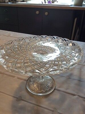 """larger sized pressed glass cake stand 5.5"""" tall"""