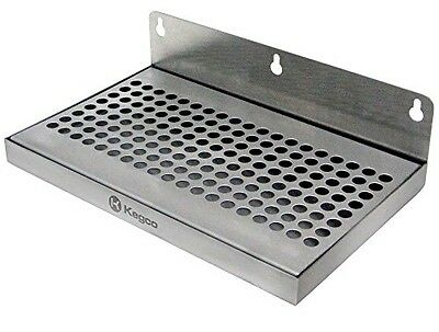 """Kegco Beer Drip Tray 10"""" Stainless Steel Wall Mount No Drain"""