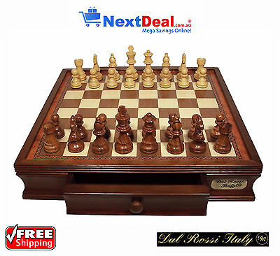 "Dal Rossi Italy Premium Classic Chess Set on 16"" Walnut Finish Box with Drawers"