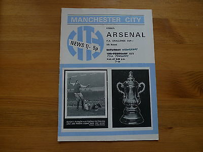 MANCHESTER CITY v ARSENAL 1970-71 FA CUP FOOTBALL PROGRAMME