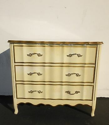 Vintage French Provincial Style Cream with Gold Gilt Three Drawer Dresser