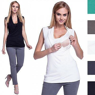Happy Mama. Women's Nursing Top Crossover Double Layered Neck Sleeveless. 265p