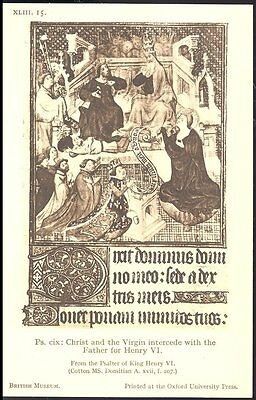 Postcard  Christ and the virgin intercede with the ..