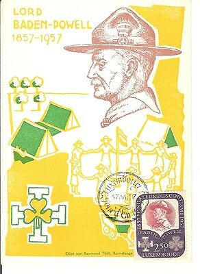 Luxembourg 1957 FDC maximum card Baden Powell Scout Jamboree yellow card