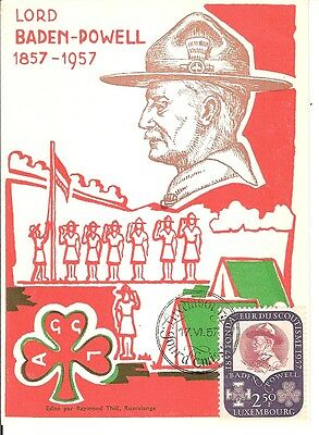 Luxembourg 1957 FDC maximum card Baden Powell Scout Jamboree red card