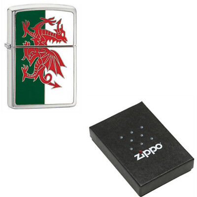 Official Zippo 200W Brushed Chrome Wales Flag Emblem Lighter In Box