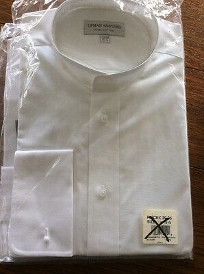 """Collarless Shirt French Cuffs 15.5"""" Peaky Blinders style"""