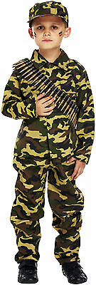 Kids Army Soldier Camouflage Dressing Up Costume Childrens Fancy Dress Boys 4-12