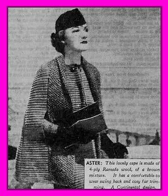 Vintage 1930s knitting pattern, Aster - Textured swing cape from 1938