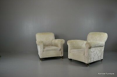Pair Antique Upholstered Armchairs