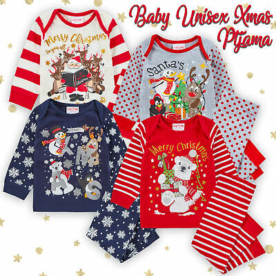 Unisex Baby Toddler Novelty Christmas Pyjama PJ Set 100% Cotton Ages 6-24 Months