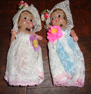Pair of Antique Celluloid Carnival Dolls Very Cute