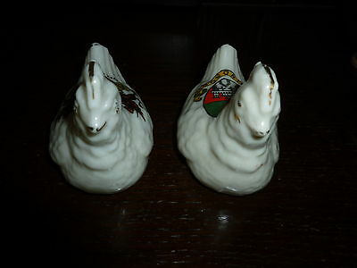 Crested China Brooding Hens. Crests Of City Of London & Windsor