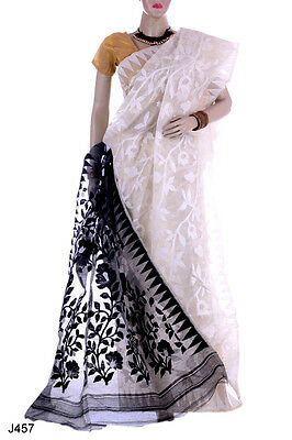 Bollywood Jamdani Dhakai Saree Party HandloomDesigner Sari Indian Fancy J457