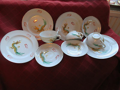 vintage oriental dragon ,lucky cups ,saucers ,plates