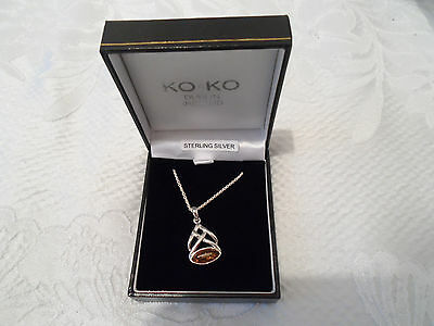 Chain and Pendant with Amber coloured stone Sterling Silver BNIB
