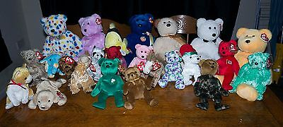 Ty Beanie  Bears Buddys Beanies Pierre Tinsel Etc 24 Total Please See Pictures