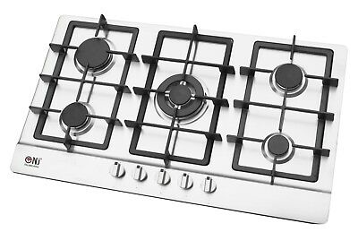 Built-in Gas Hob 5 burner 90cm Cooktop Stainless Steel LPG Cast Iron NJ-903S NEW