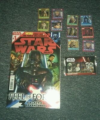 Collection of Star Wars items. Comic #1 collectors cards and promo items
