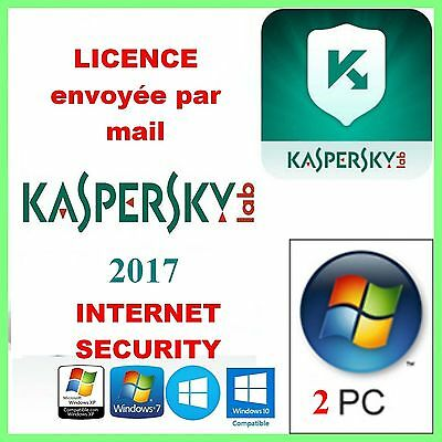 KASPERSKY INTERNET SECURITY 2017 - 2 PC/1 AN  Français Licence envoyée par mail