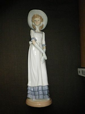 Nao by LLADRO Tall Lady Standing With Hat 32cm PORCELAIN Figurine