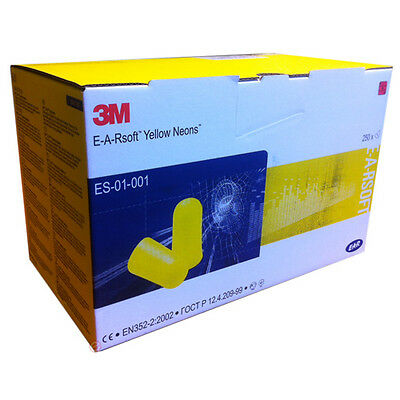 3M ES-01-001 -  EAR Soft Yellow Neon Uncorded Earplugs - 250 Pairs Disposable