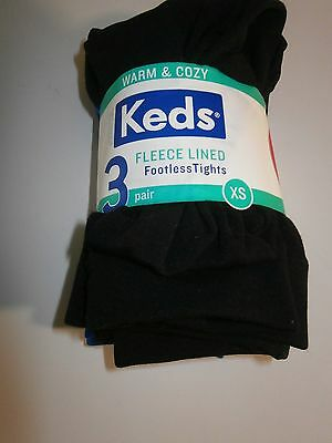 new keds fleece lined footless tights , 3 pairs xs 2 - 4 years