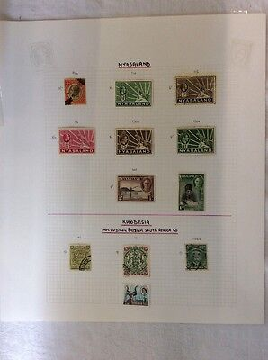 Album Page  - Nyassaland & Rhodesia - Definitives & Commemoratives.