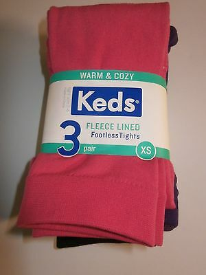 new keds fleece lined footless tights , 3 pairs xs 2 - 4 years.
