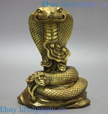 """9"""" Fine Brass sculpture China carved copper as one wishes cobra Snake Statue"""